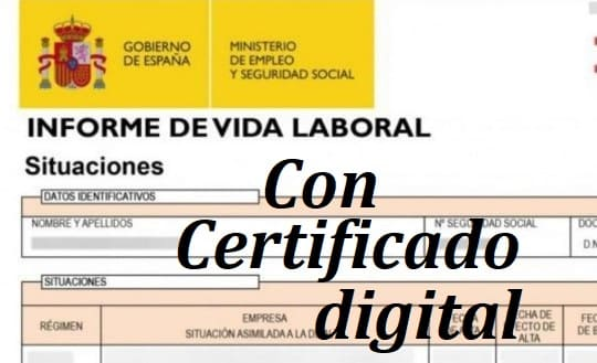 pedir Vida Laboral con certificado digital